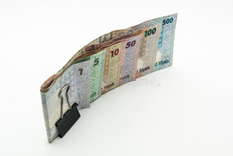Qatar currencies Hundred Riyal, five hundred riyal, hundred riyal,fifty riyal, ten riyal, five riyal and one riyal. With black clip royalty free stock image