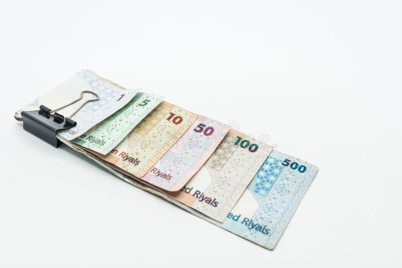 Qatar currencies Hundred Riyal, five hundred riyal, hundred riyal,fifty riyal, ten riyal, five riyal and one riyal. With black clip stock photo