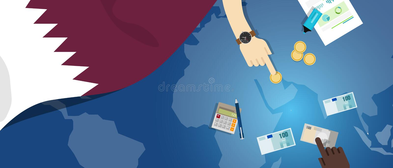 Qatar economy fiscal money trade concept illustration of financial banking budget with flag map and currency. Vector vector illustration