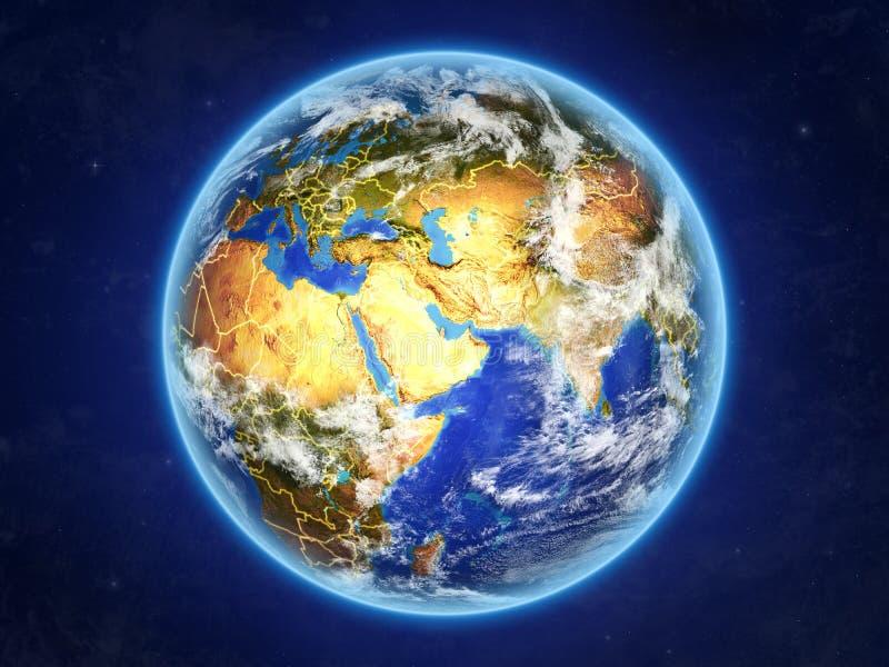 Qatar en la tierra del espacio stock de ilustración