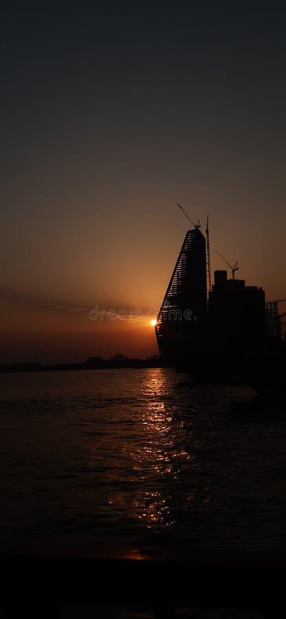 Qatar evening time  sunrise photo stock image