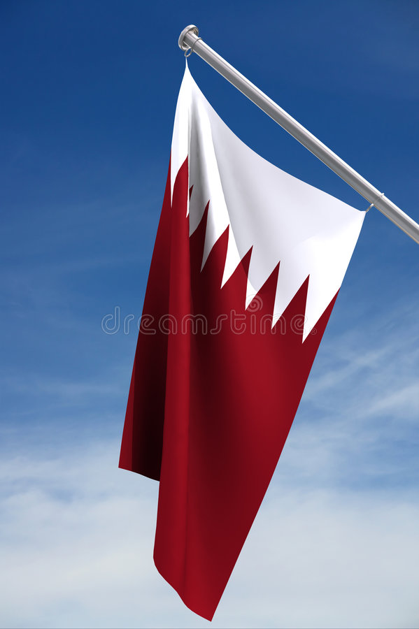 Qatar flag with clipping path. Hoisted against the bright blue sky royalty free illustration