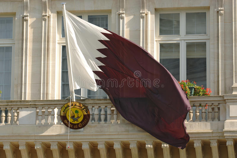 Qatar Flag, Paris Embassy. State of Qatar Flag flying in front of the Embassy in Paris stock images