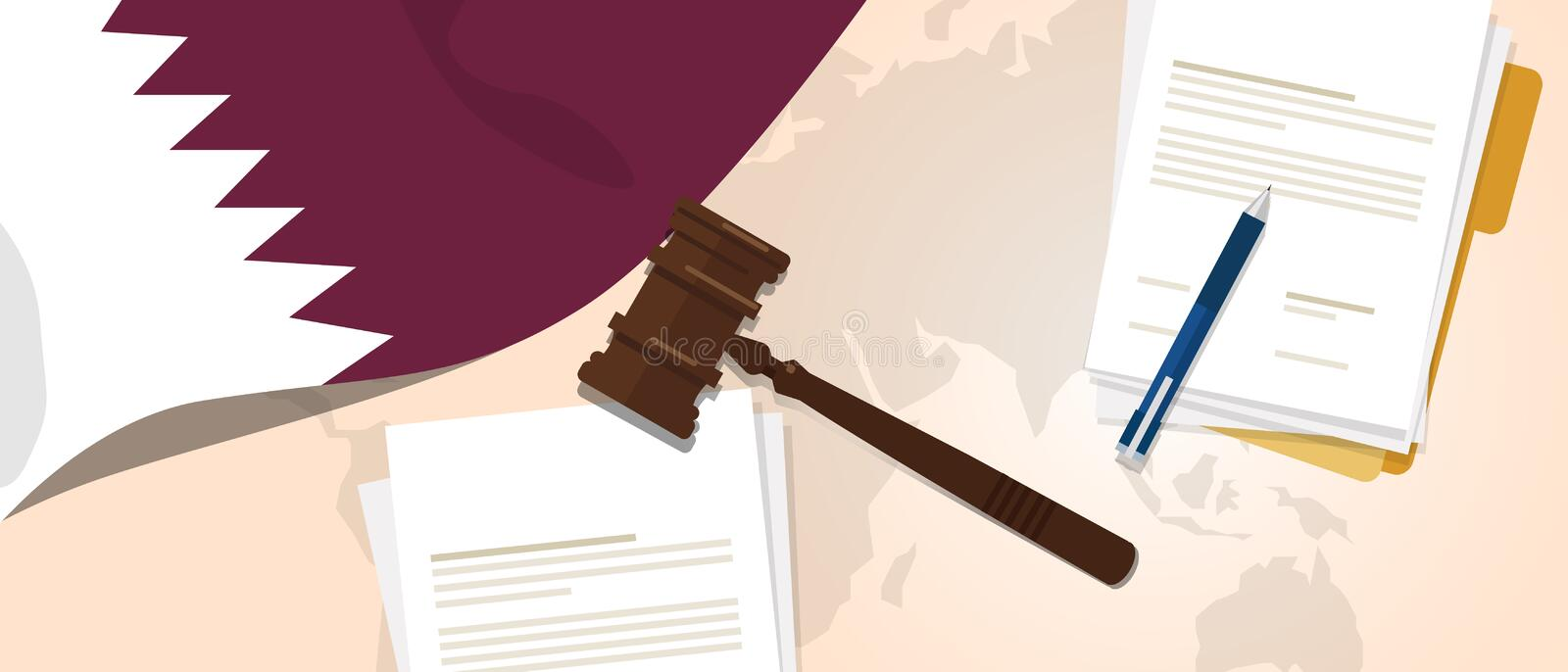 Qatar law constitution legal judgment justice legislation trial concept using flag gavel paper and pen. Vector vector illustration