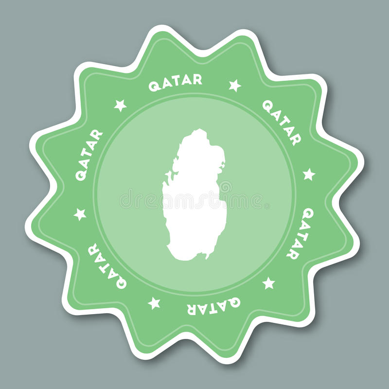 Qatar Map Sticker In Trendy Colors Stock Vector Illustration of