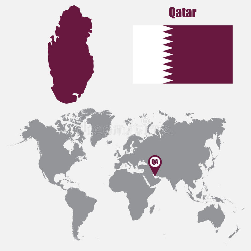 download qatar map on a world map with flag and map pointer vector illustration stock