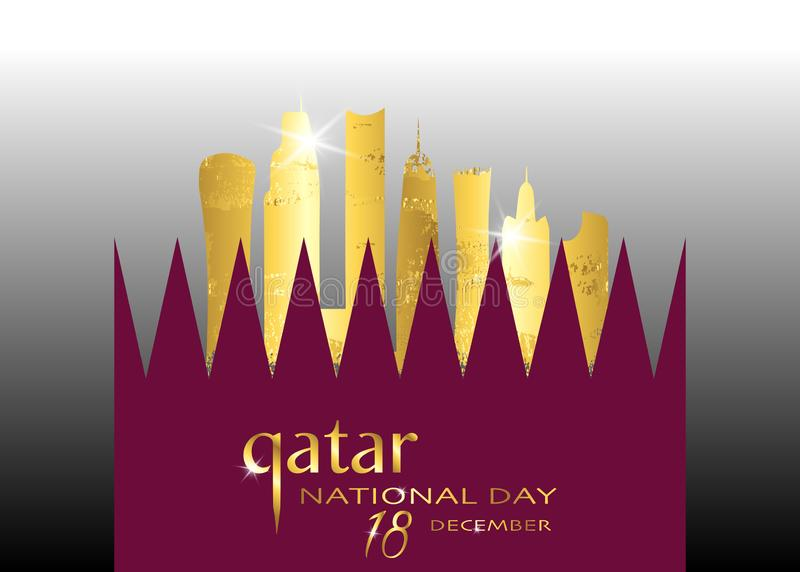 Qatar national day celebration 18 december, qatar gold silhouette building and waving flag, vector illustration stock illustration