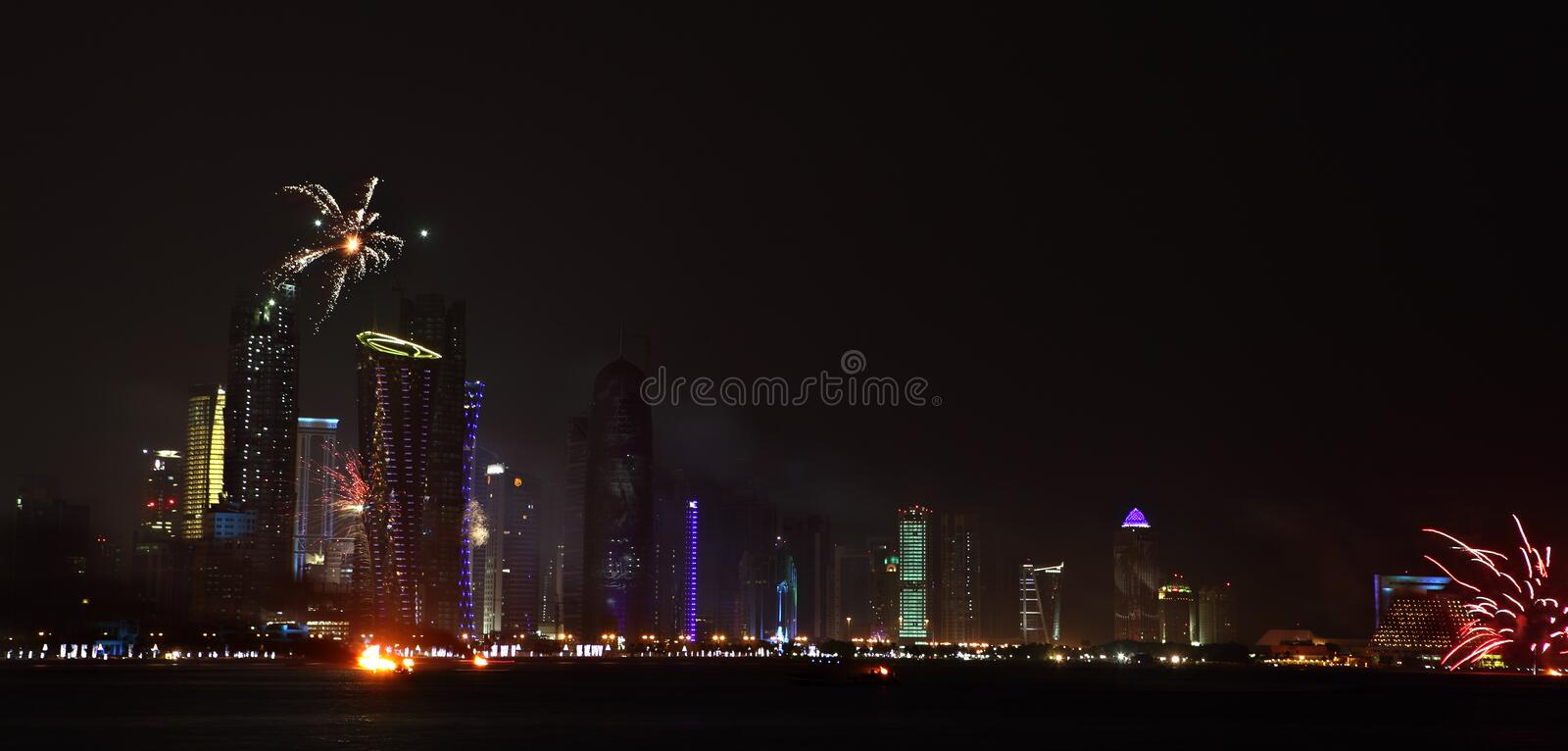 Qatar National Day fireworks in Doha royalty free stock photography