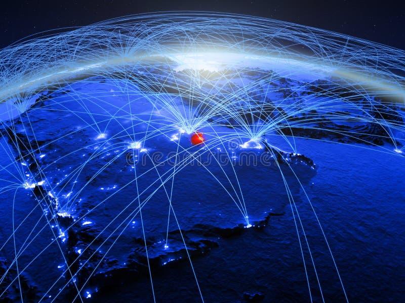 Qatar op blauwe digitale aarde met internationaal netwerk die mededeling, reis en verbindingen vertegenwoordigen 3D Illustratie royalty-vrije stock foto