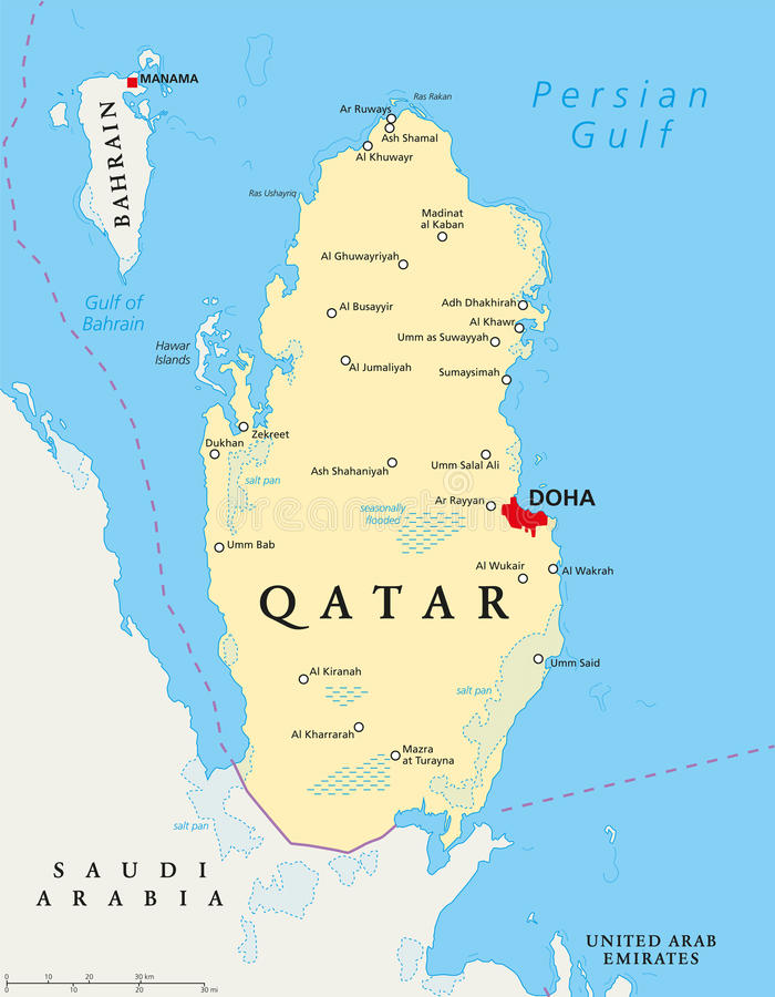 qatar mapa Qatar Political Map stock vector. Illustration of illustration  qatar mapa