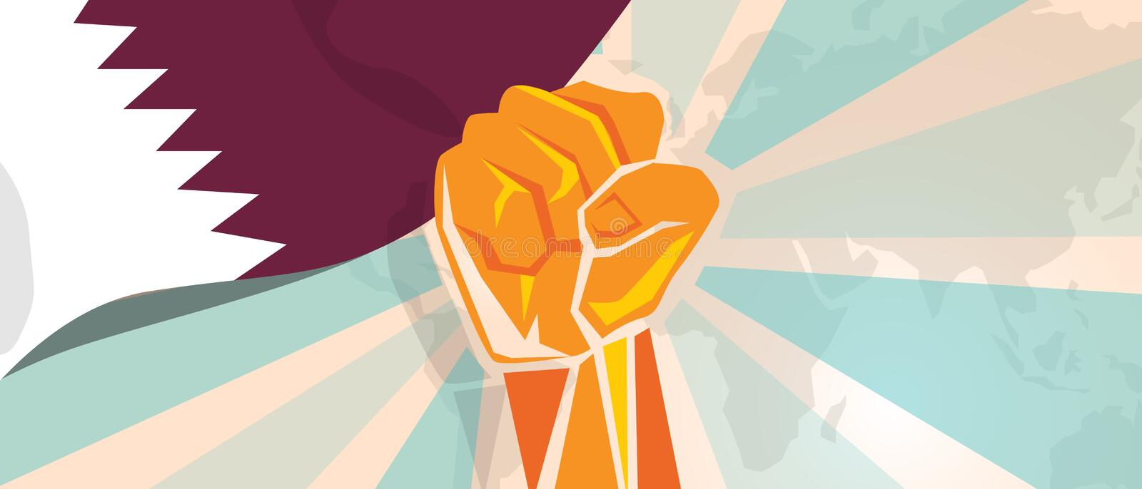 Qatar propaganda poster fight and protest independence struggle rebellion show symbolic strength with hand fist royalty free illustration
