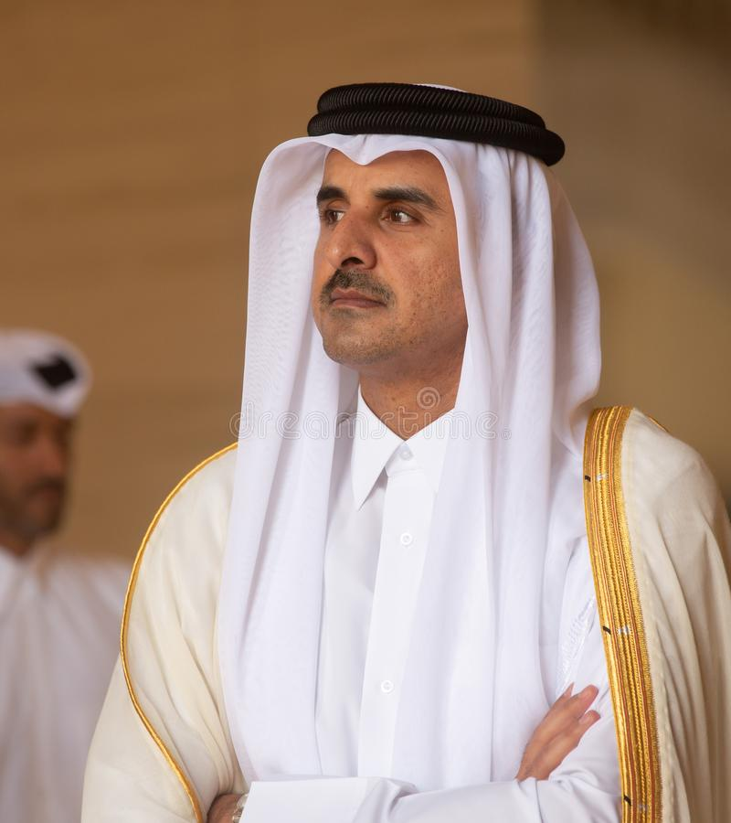 Qatar Sheikh Tamim bin Hamad Al Thani royaltyfri bild
