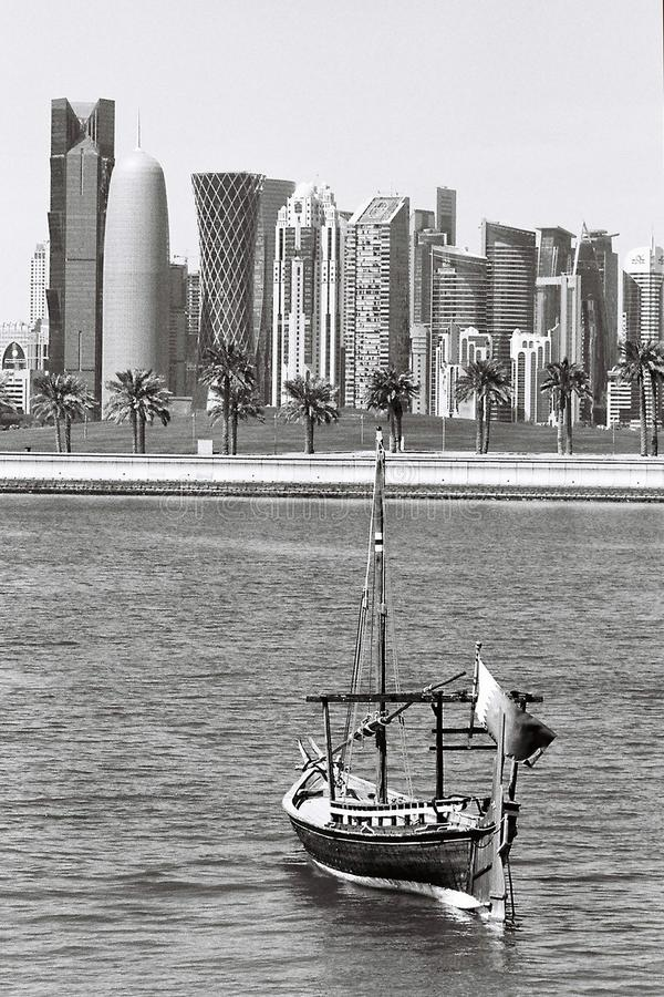 Qatar ship and towers vertical royalty free stock photo