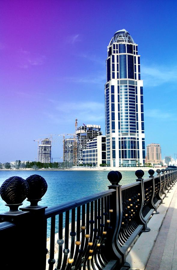 Qatar single tower building royalty free stock photo