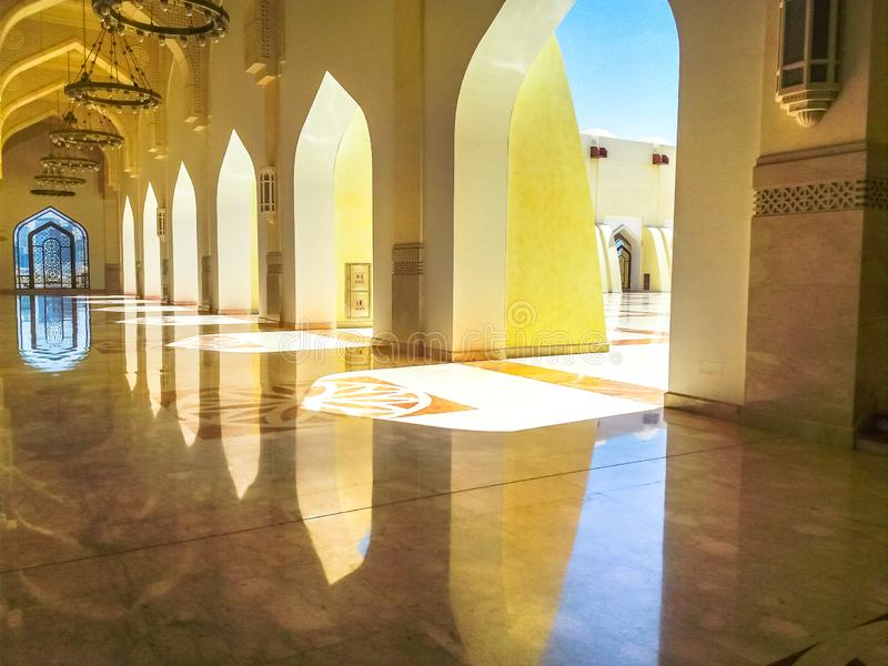 Qatar State Mosque arches stock images