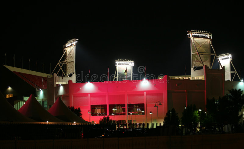 Qatar tennis stadium illumination royalty free stock photo