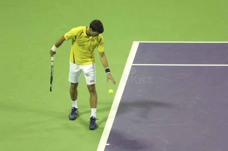 Qatar Total Open 2016. Serbian tennis player Novak Djokovic plays his first match in 2016. on January 4, 2016 in Doha, Qatar stock images