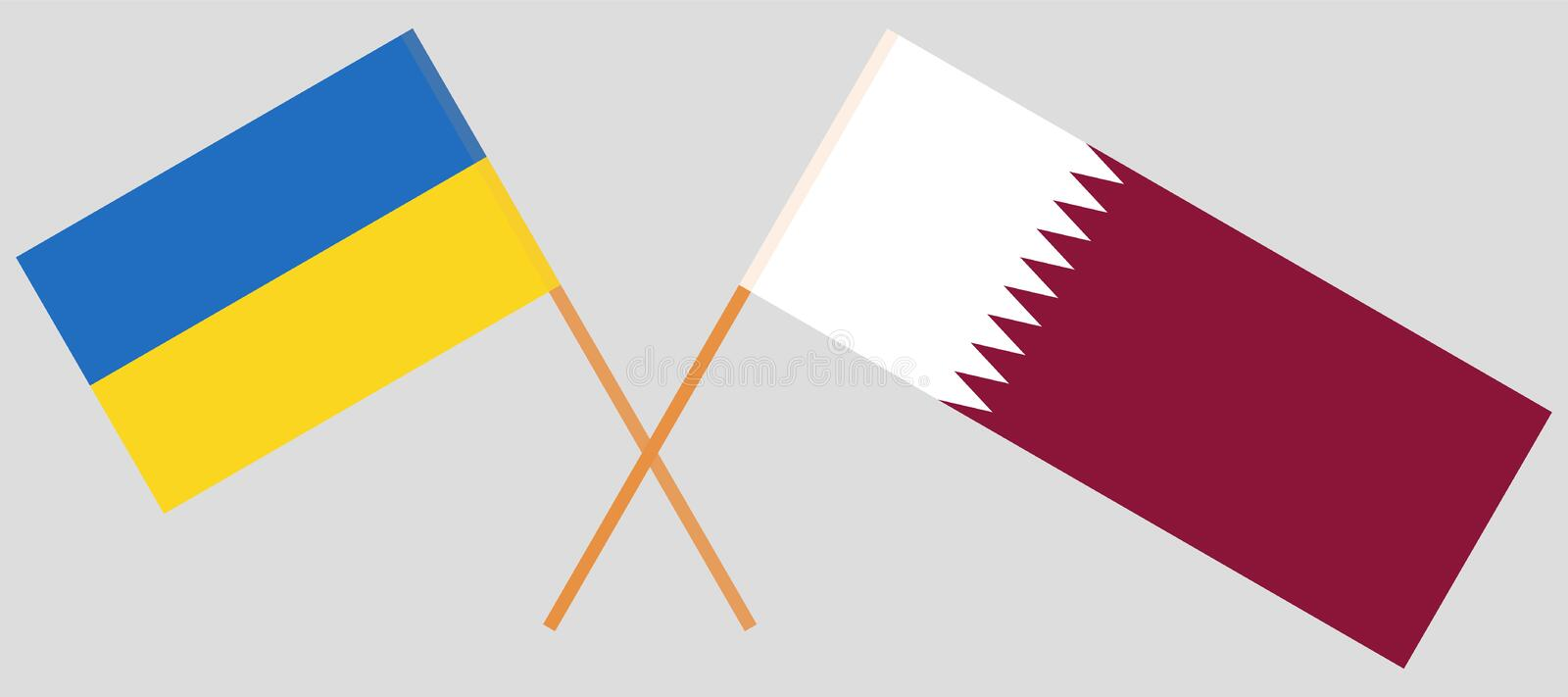 Qatar and Ukraine. The Qatari and Ukrainian flags. Official colors. Correct proportion. Vector. Illustration royalty free illustration