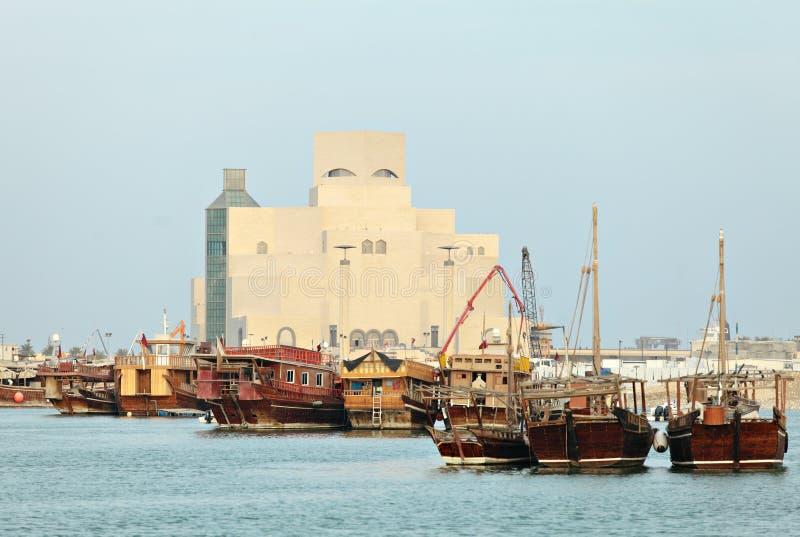 Qatari Dhows auf Bildschirmanzeige stockbilder