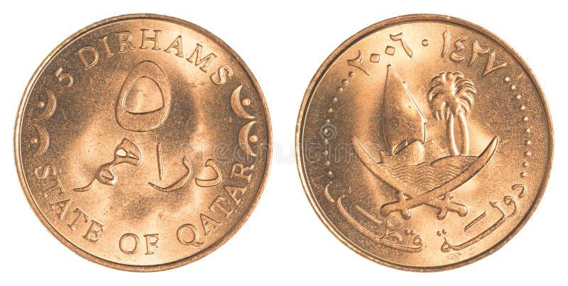 5 Qatari Dirham moneta obraz royalty free