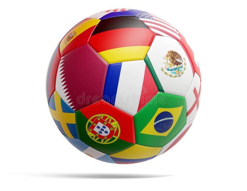 Qatarisk boll för designfotbollfotboll med flaggor av qatariska och olika andra 3d-illustration vektor illustrationer