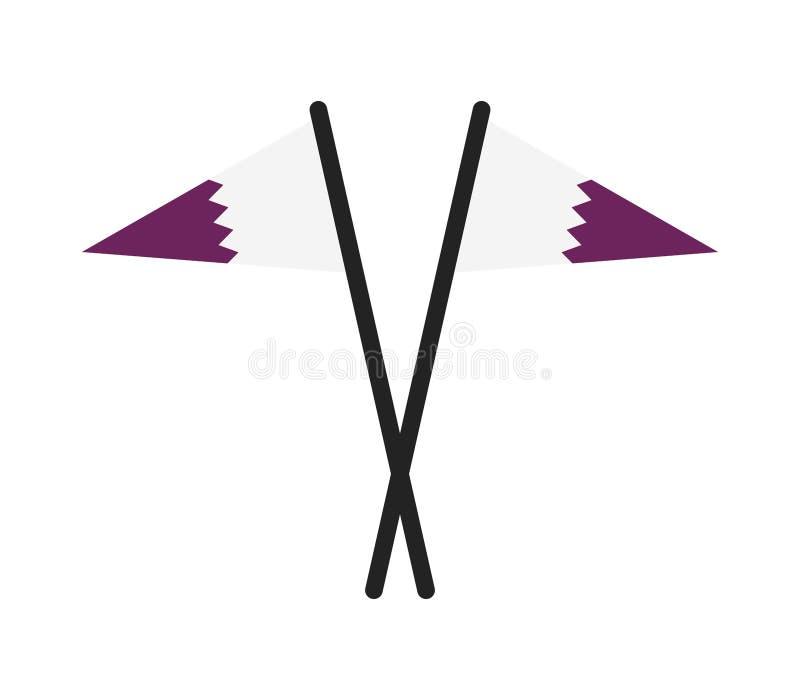 Qatarisk flagga stock illustrationer