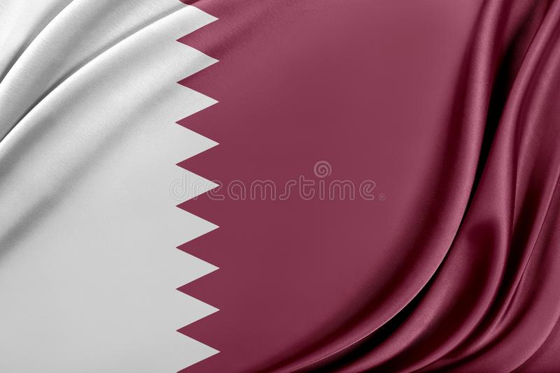Qatarisk flagga med en glansig siden- textur stock illustrationer