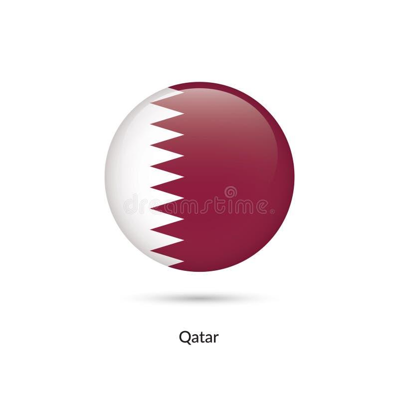 Qatarisk flagga - rund glansig knapp vektor illustrationer