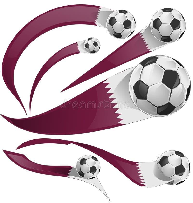 Qatarisk flaggauppsättning med fotbollbollen vektor illustrationer