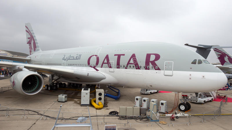 Qatarisk flygbuss 380 royaltyfri bild