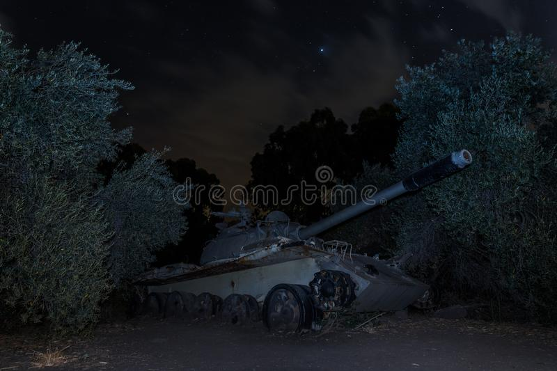 A Memorial Monument Khativa 7 at night. Killed tank is on battlefield in Valley of Tears, since the Doomsday War of 1973, on Golan stock photography