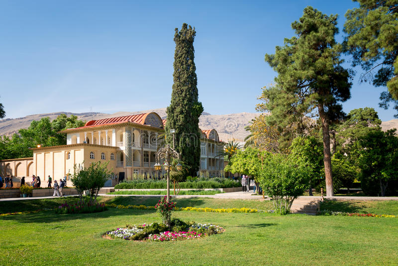 Qavam House at Eram garden in Shiraz.Iran. SHIRAZ, IRAN -APRILL 30: Qavam House at Eram Garden in Shiraz, Iran on Aprill 30, 2016. Eram Garden has led to its royalty free stock photography
