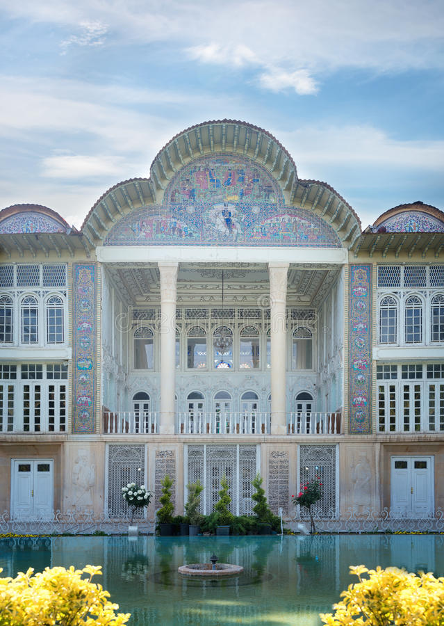 Qavam House at Eram garden in Shiraz.Iran. SHIRAZ, IRAN -APRILL 30: Qavam House at Eram Garden in Shiraz, Iran on Aprill 30, 2016. Eram Garden has led to its stock image