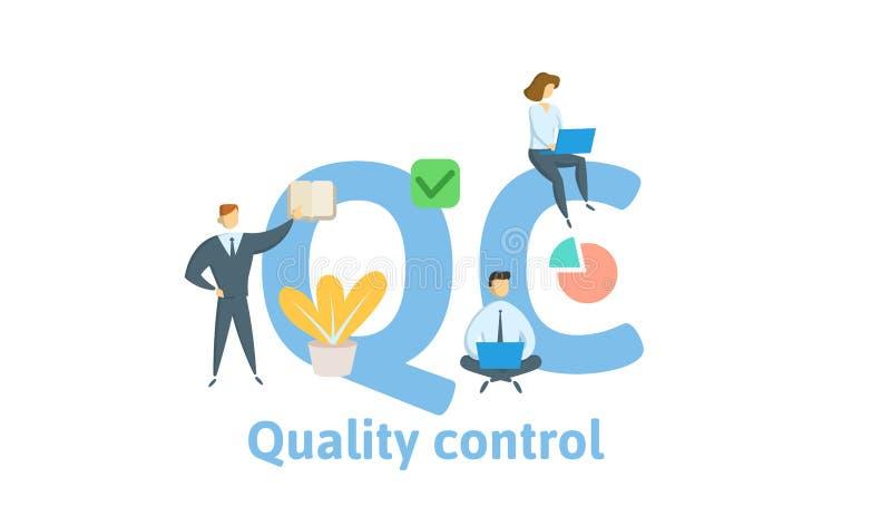 QC,质量管理 与主题词、信件和象的概念 平的传染媒介例证 背景查出的白色 库存例证