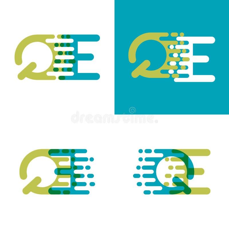QE pone letras al logotipo con acento para apresurar en azul y verde claro libre illustration