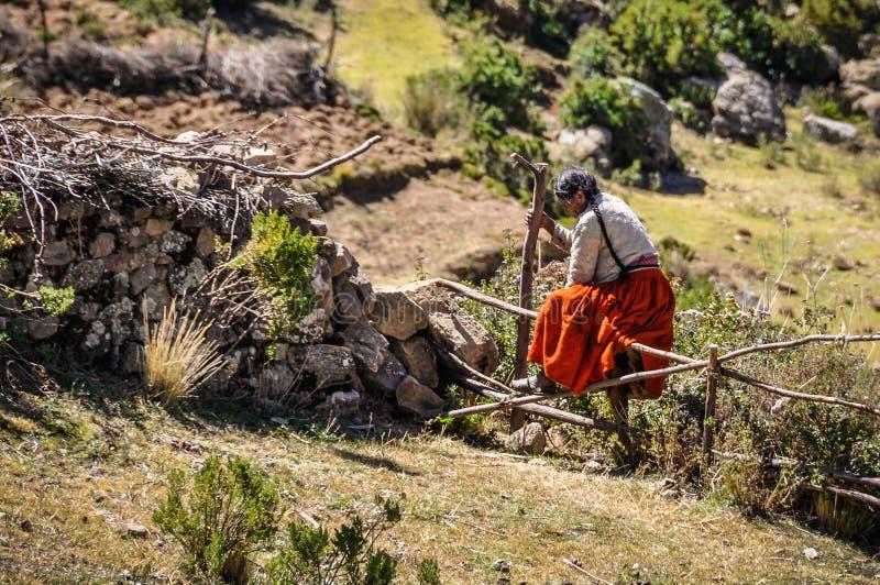 Qechua dama na Isla Del Zol na Jeziornym Titicaca w Boliwia zdjęcia stock