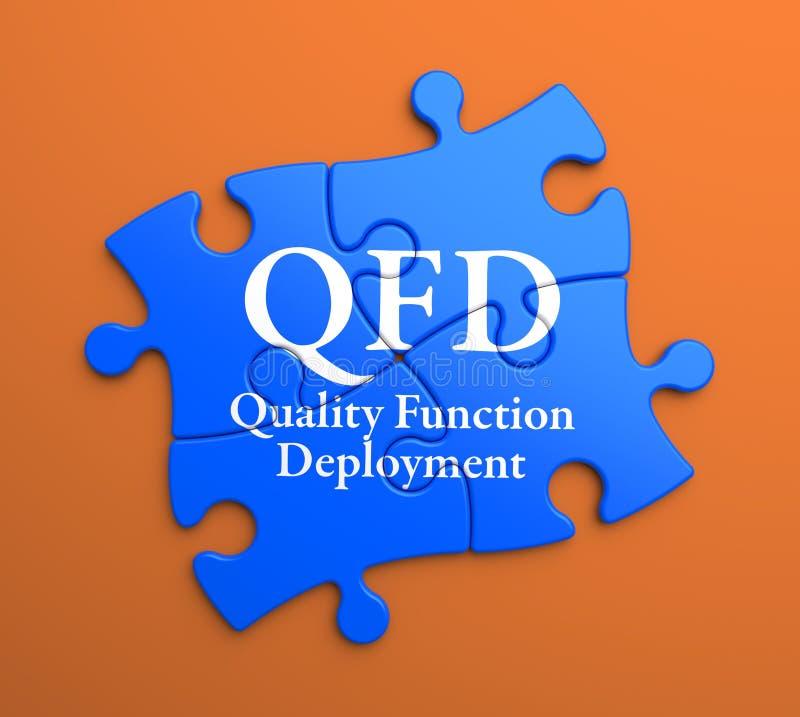 QFD sur les morceaux bleus de puzzle. Concept d'affaires. illustration de vecteur