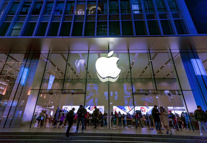 QG de Apple Store, Nanjing Lu Shanghai fotos de stock royalty free