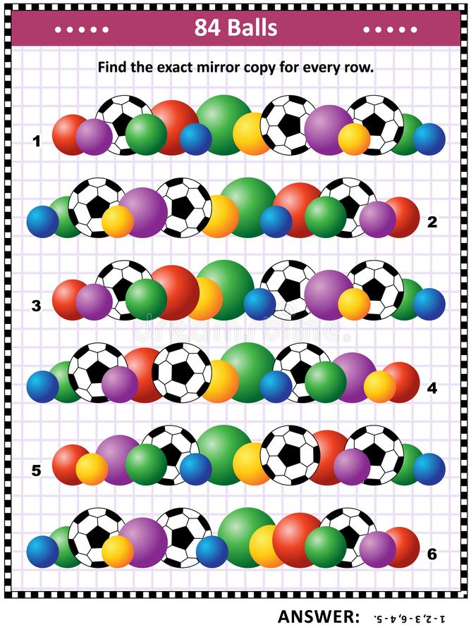 QI formant le puzzle visuel avec des rangées des boules illustration stock