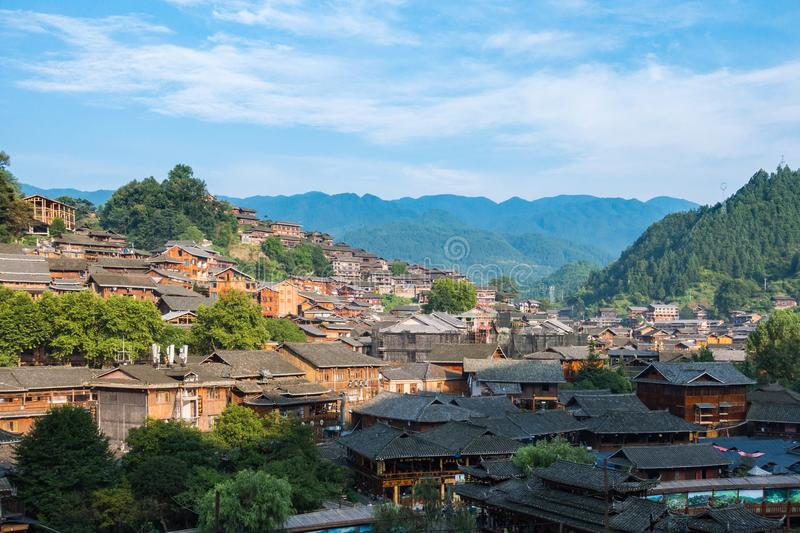 Qian Hu Miao Zhai Daytime Village Landscape, Ancient Chinese Cul. Tural Location royalty free stock image