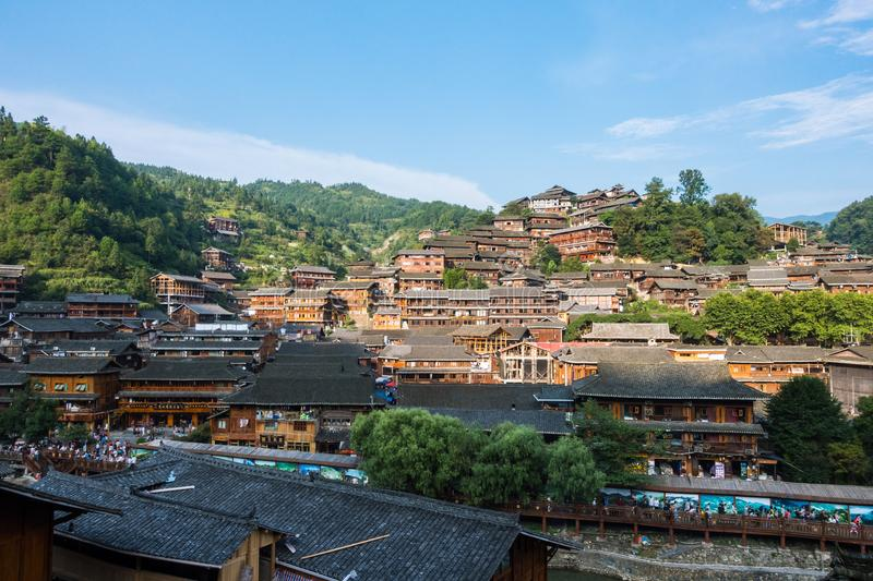 Qian Hu Miao Zhai Daytime Village Landscape, Ancient Chinese Cul. Tural Location stock images