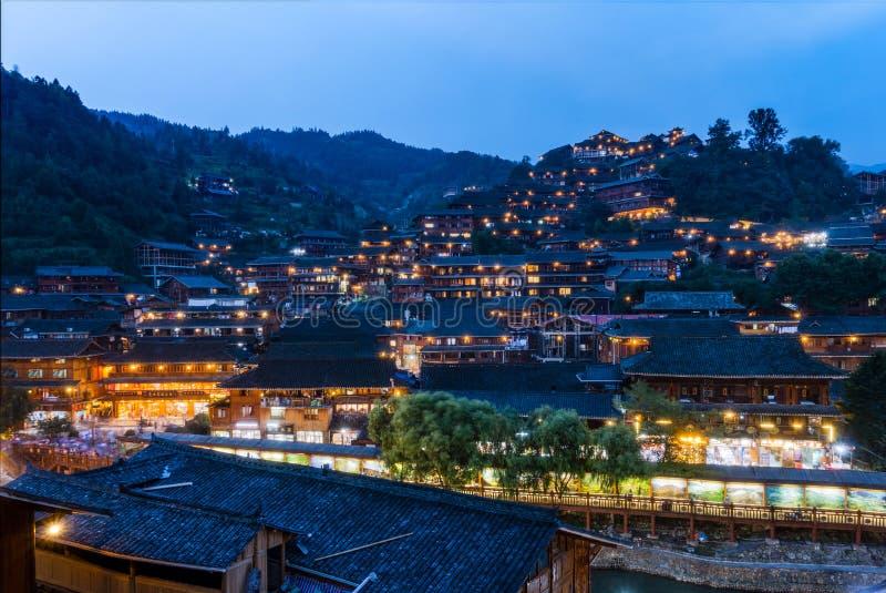 Qian Hu Miao Zhai Twilight Village Landscape, Ancient Chinese Cu. Ltural Location stock image