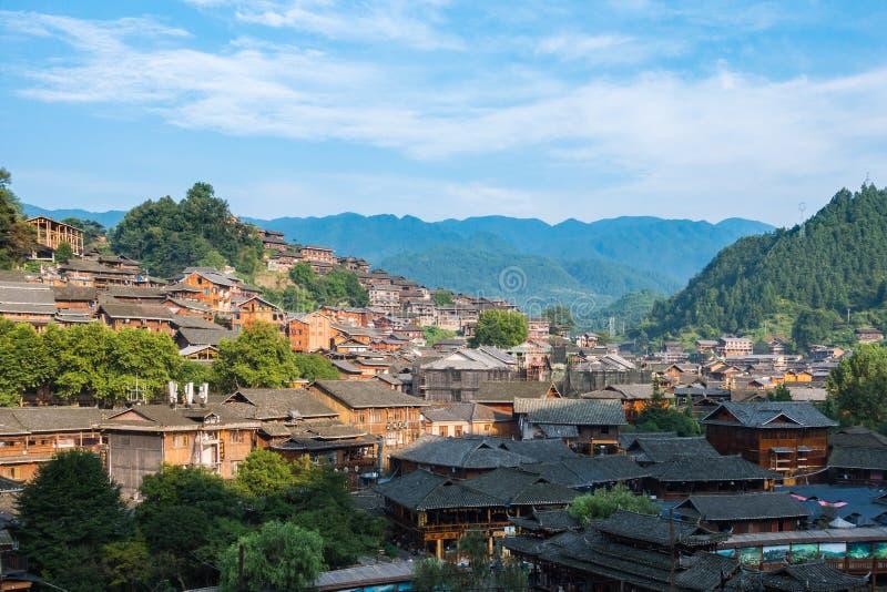 Qian Hu Miao Zhai wioski Dzienny krajobraz, Antyczny chińczyk Cul obraz royalty free