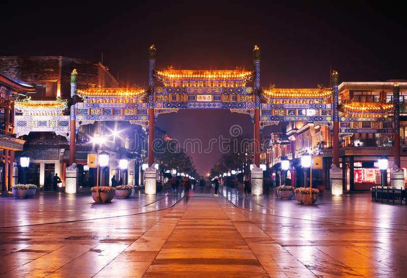 Qianmen,紫禁城,北京晚上视图  免版税库存图片