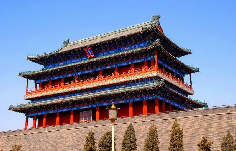 Qianmen port som förbjudas staden, Beijing, Kina arkivfoto