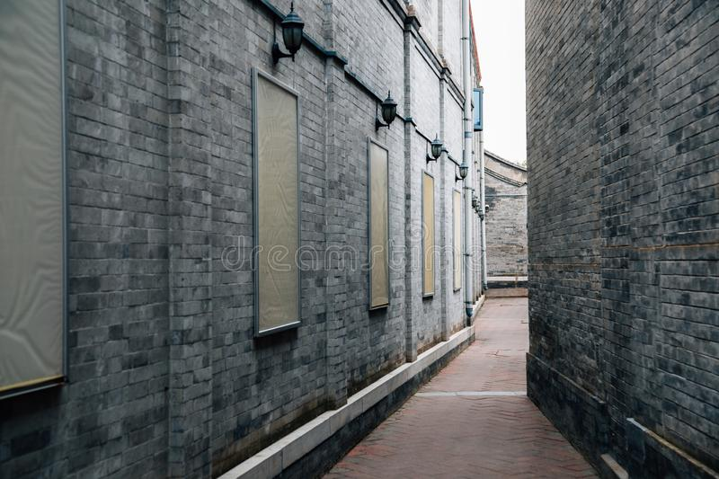 Qianmen street, Hutong alley in Beijing, China. Asia royalty free stock photo