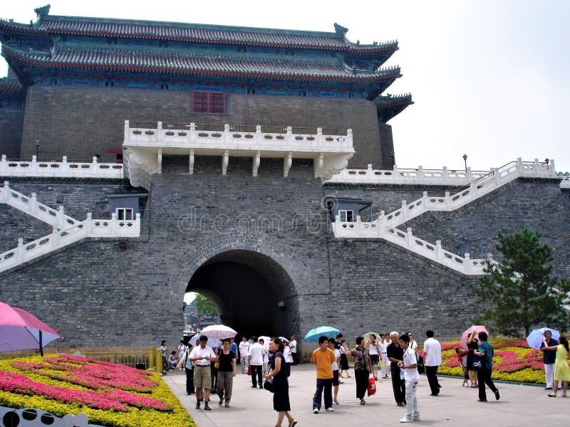 Qianmen of Zhengyangmen in de stad van Peking, China Geschiedenis en toerisme stock afbeeldingen