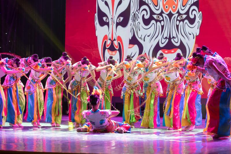 Qiao Hua Dan(combination)-ale role in Chinese opera-Chinese classical dance. This program has successfully integrated the elements of Beijing opera stock image