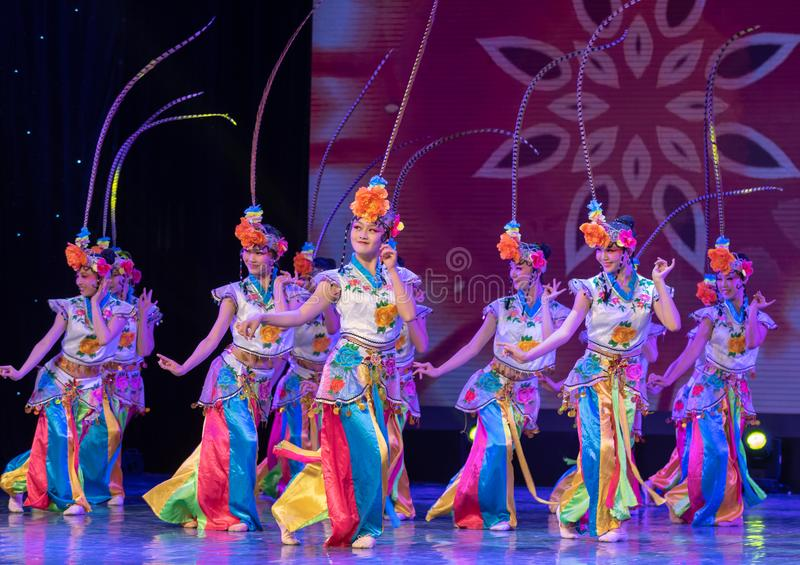 Qiao Hua Dan(combination)-ale role in Chinese opera-Chinese classical dance. This program has successfully integrated the elements of Beijing opera royalty free stock image