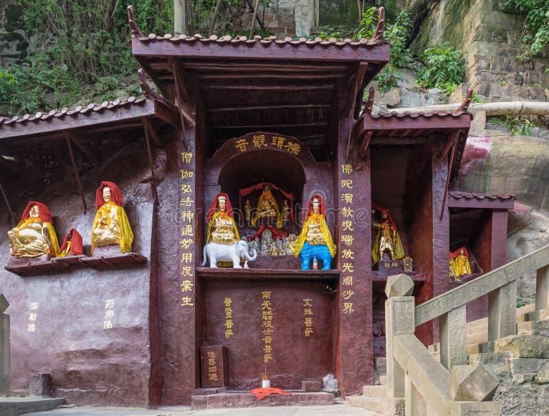 Qiaotou Kwan-yin, small Buddhist temple at bridge end at Ciqikou royalty free stock photography